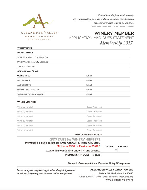 Alexander Valley Winegrowers Association Membership