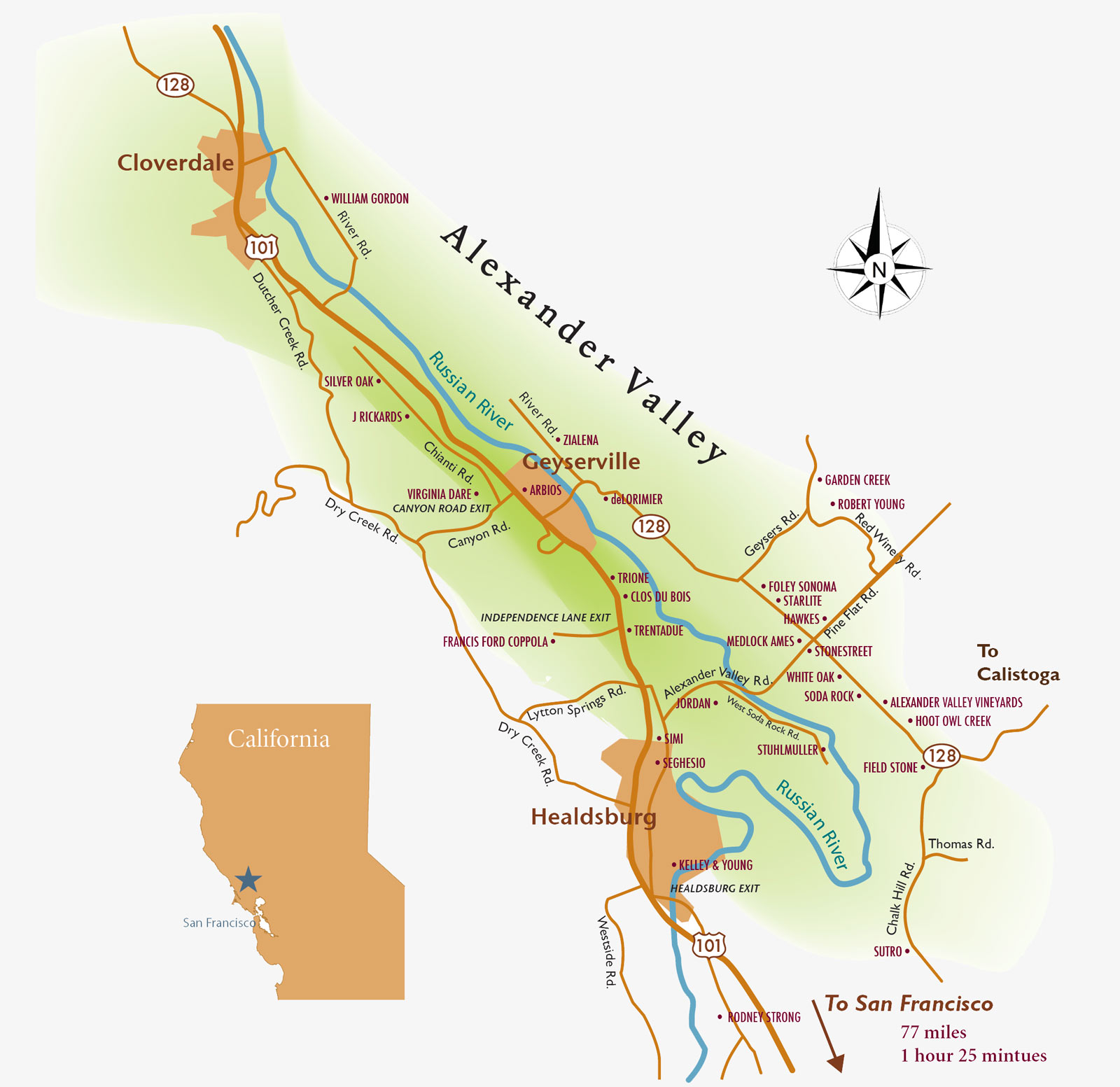 Alexander Valley Wine Tasting Map Sonoma County