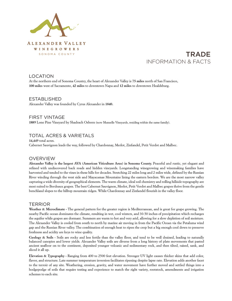 Trade - Alexander Valley Winegrowers